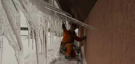 Очистка крыши от снега и сосулек