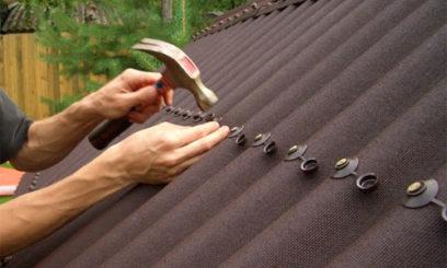 Покрытие крыши гаража ондулином
